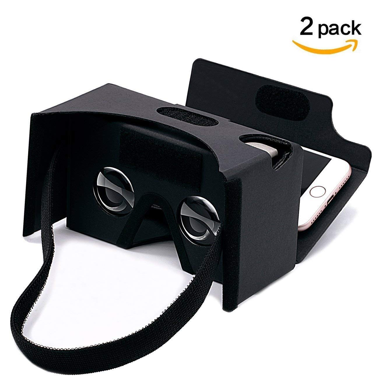 Google Cardboard,2 Pack VR Headsets 3D Box Virtual Reality Glasses with Big Clear 3D Optical Lens and Comfortable Head Strap for All 3-6 Inch Smartphones (VR2.0 Black, 2 Pack) by Printor