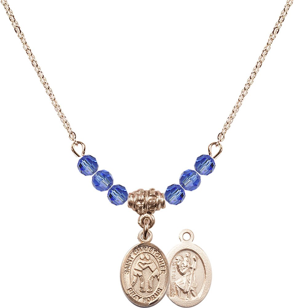 18-Inch Hamilton Gold Plated Necklace with 4mm Sapphire Birthstone Beads and Gold Filled Saint Christopher/Wrestling Charm. by F A Dumont