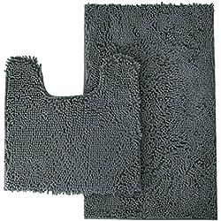 "MAYSHINE Bathroom Rugs Toilet Sets and Shaggy Non Slip Machine Washable Soft Microfiber Bath Contour mat (Dark Gray 32"" 20""/20"" 20"" U-Shaped)"