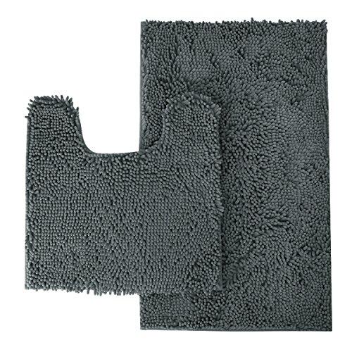 MAYSHINE Bathroom Rugs Toilet Sets and Shaggy Non Slip Machine Washable Soft Microfiber Bath Contour mat (Dark Gray 32