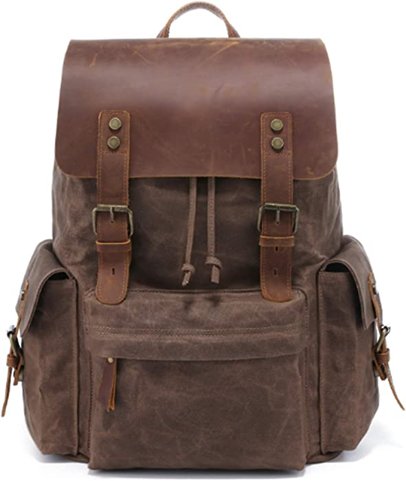 Canada style 2020 made Waxed canvas backpack 15.6 Inch Laptop Genuine leather(Oil wax waterproof)shoulder bag vintage computer rucksack for Men&women,professional Outdoor hiking travel school(coffee)