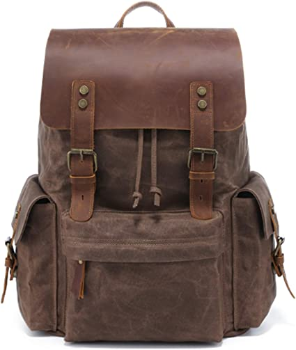 Village Mens Leather School Backpack Large Waterproof Travel Laptop Bag Coffee