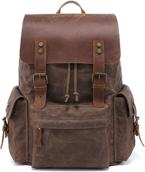 Waxed Canvas School Backpack Large Waterproof Travel Backpack Hiking Rucksack 15.6/'/' Laptop Backpack Unisex Daily Backpack Christmas Gift