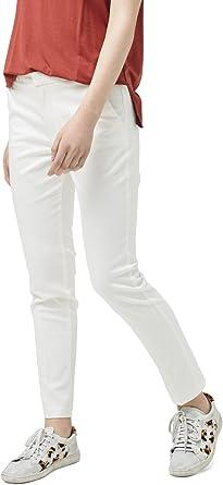 MANGO -Pantalones de algodón rectos Mujer Blanco blanco 42: Amazon ...