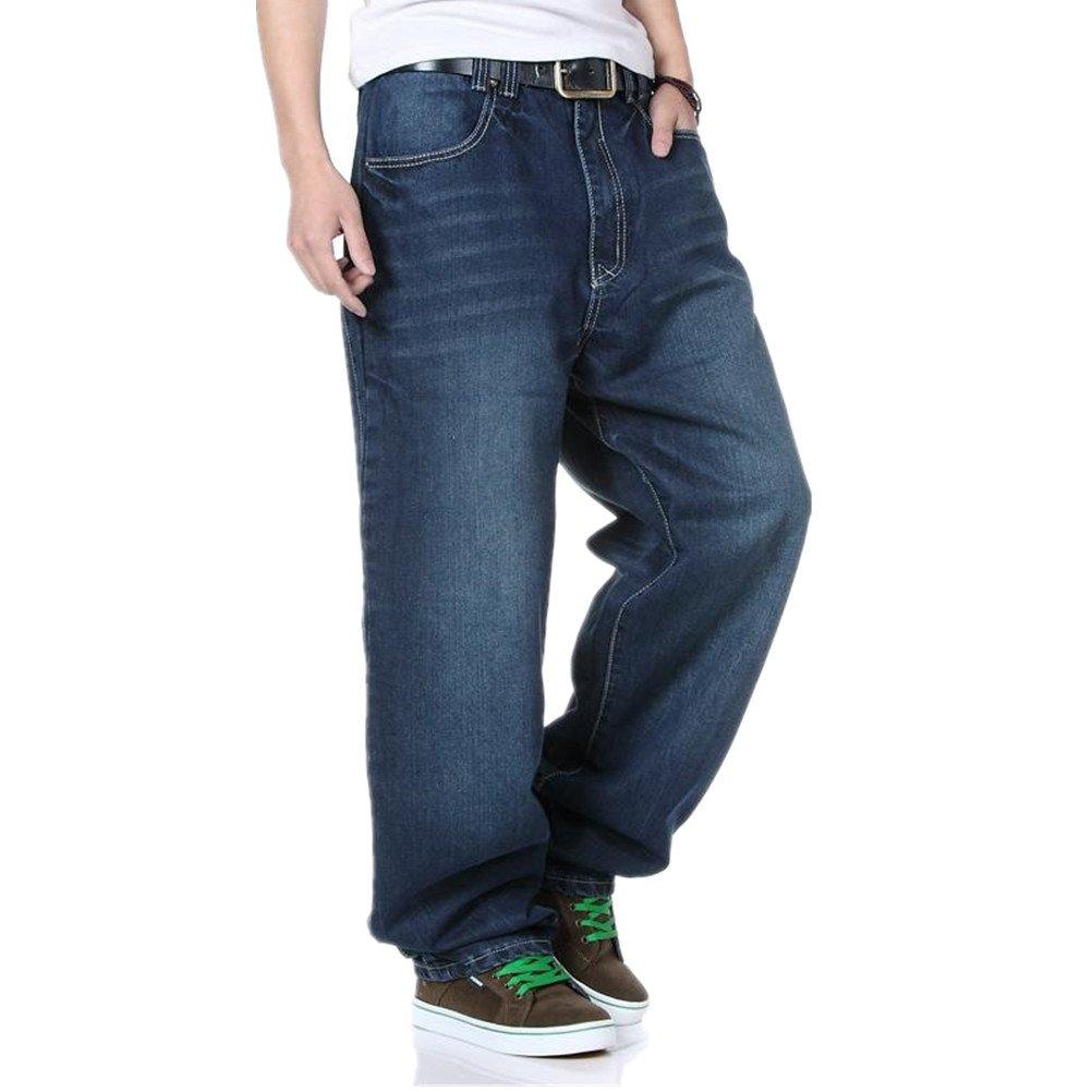 WoowTry Men's Multi-Style Nightclub Hip Hop Baggy Denim Jeans Blue1 44