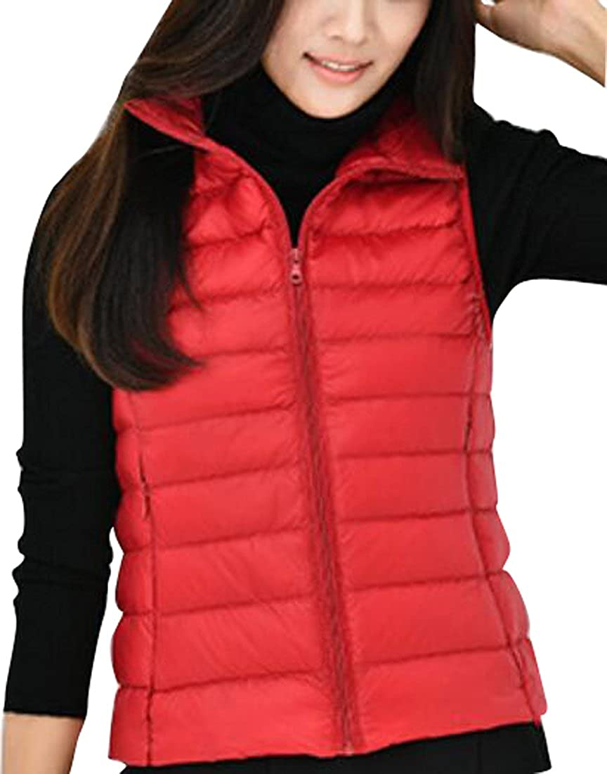 Fensajomon Womens Outdoor Puffer Vest Coat Packable Ultra Light Down Vest