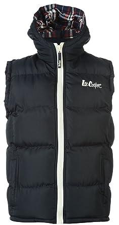 Boys Juniors Designer Lee Cooper 2 Zip Gilet Hooded Body Warmer (7-8 ... 40340156753