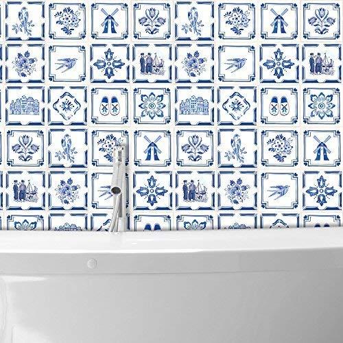 (WALPLUS Dutch Blue Tiles Wall Stickers - 5.91 inch x 5.91 inch - 24 pcs. )