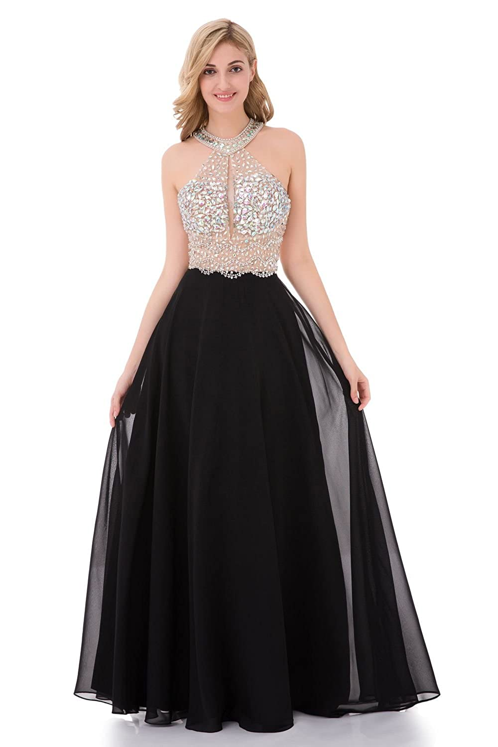 5a4b1b4f89b6 Amazon.com: YuNuo Sparkly Crystal Beading Prom Dresses Long 2019 Sexy Open  Back Party Ball Gown Scoop Bridesmaid Dresses…: Clothing