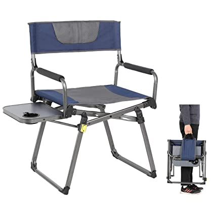 Fine Portal Compact Folding Directors Chair Heavy Duty Folding Chair Padded With Carry Strap Side Table And Armrest Supports 300 Lbs Camellatalisay Diy Chair Ideas Camellatalisaycom