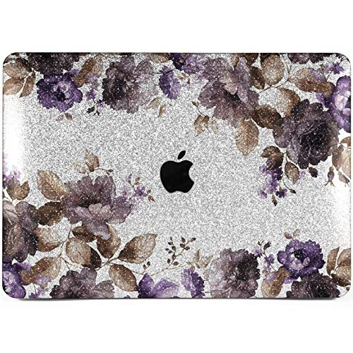 Lex Altern Glitter MacBook Case Pro 15 inches Air 13 12 11 Floral Bling Mac 2018 Shiny Rhinestone Retina Purple Flowers Cover Hard Leaves Apple 2017 2016 Blossom Protective Girl Women Silver Glossy
