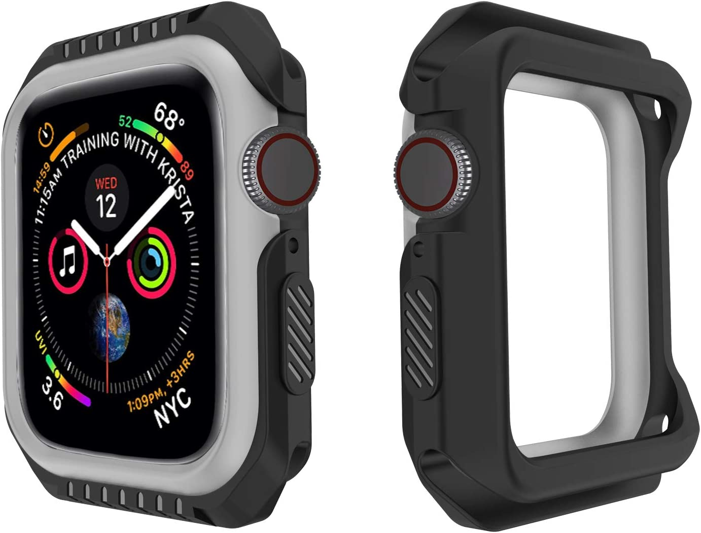 Kamon Watch Case Designed for Apple Watch Series 6, 5, 4, 3, 2, 1, Shatter-Resistant Bumper case for Apple watch 38mm 40mm 42mm 44mm (Black Gray, 44mm)