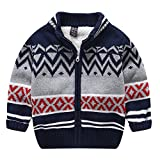 Boys Girls Winter Knitted Pattern Long Sleeve Sweaters Cardigan Warm Outerwear Jacket (T5-6, Gray)