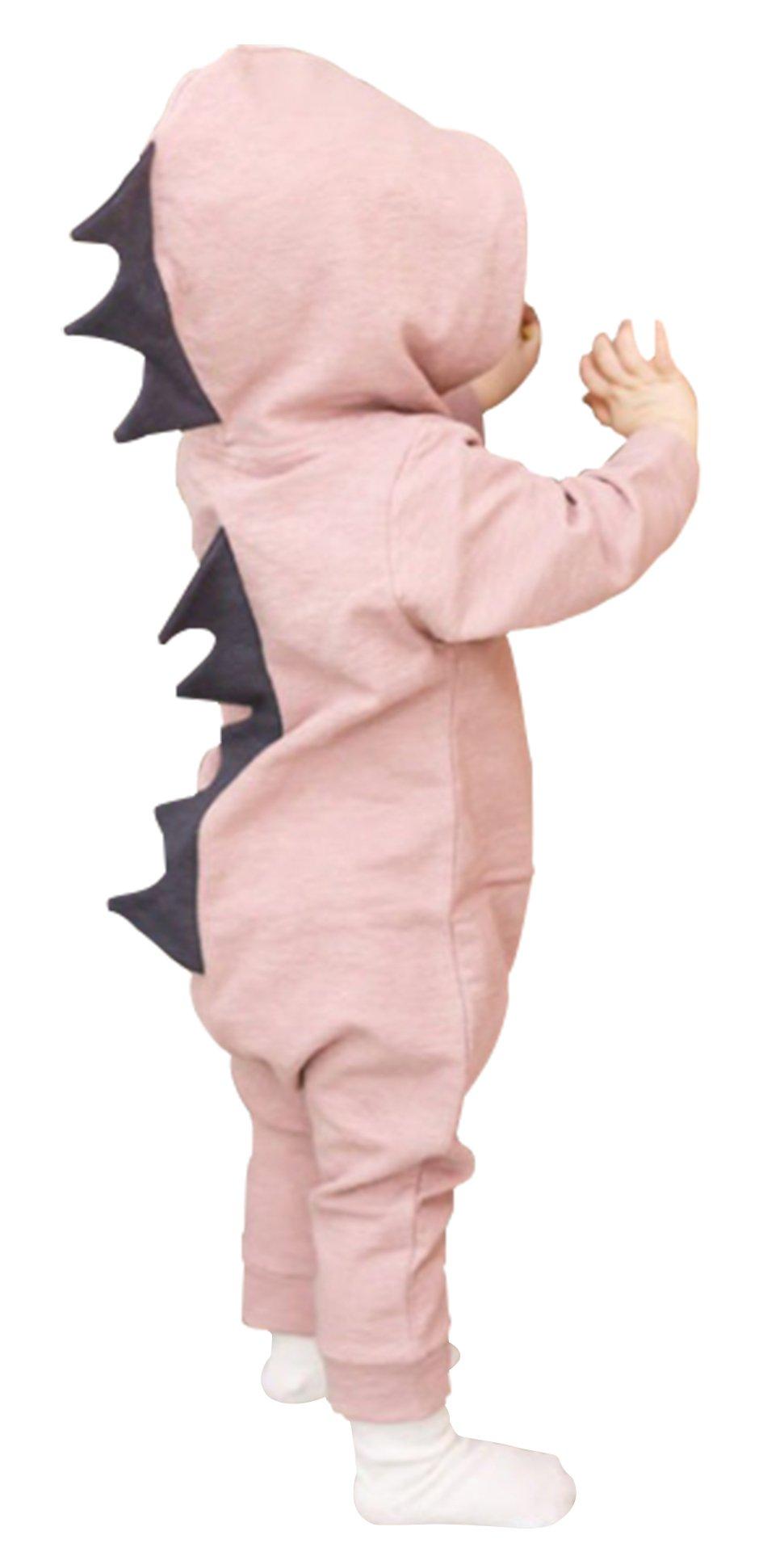 Newborn Boys Girls 3D Cartoon Dinosaur Hoodie Romper Baby Onesies Zipper Jumpsuit Outfits (3-6Months/70, Pink)