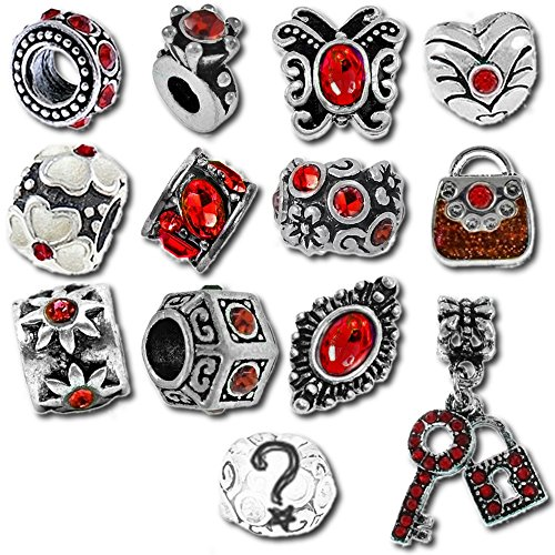 (Timeline Treasures European Charm Bracelet Charms and Beads For Women, DIY Jewelry, Birthstone Red January July Ruby Garnet)