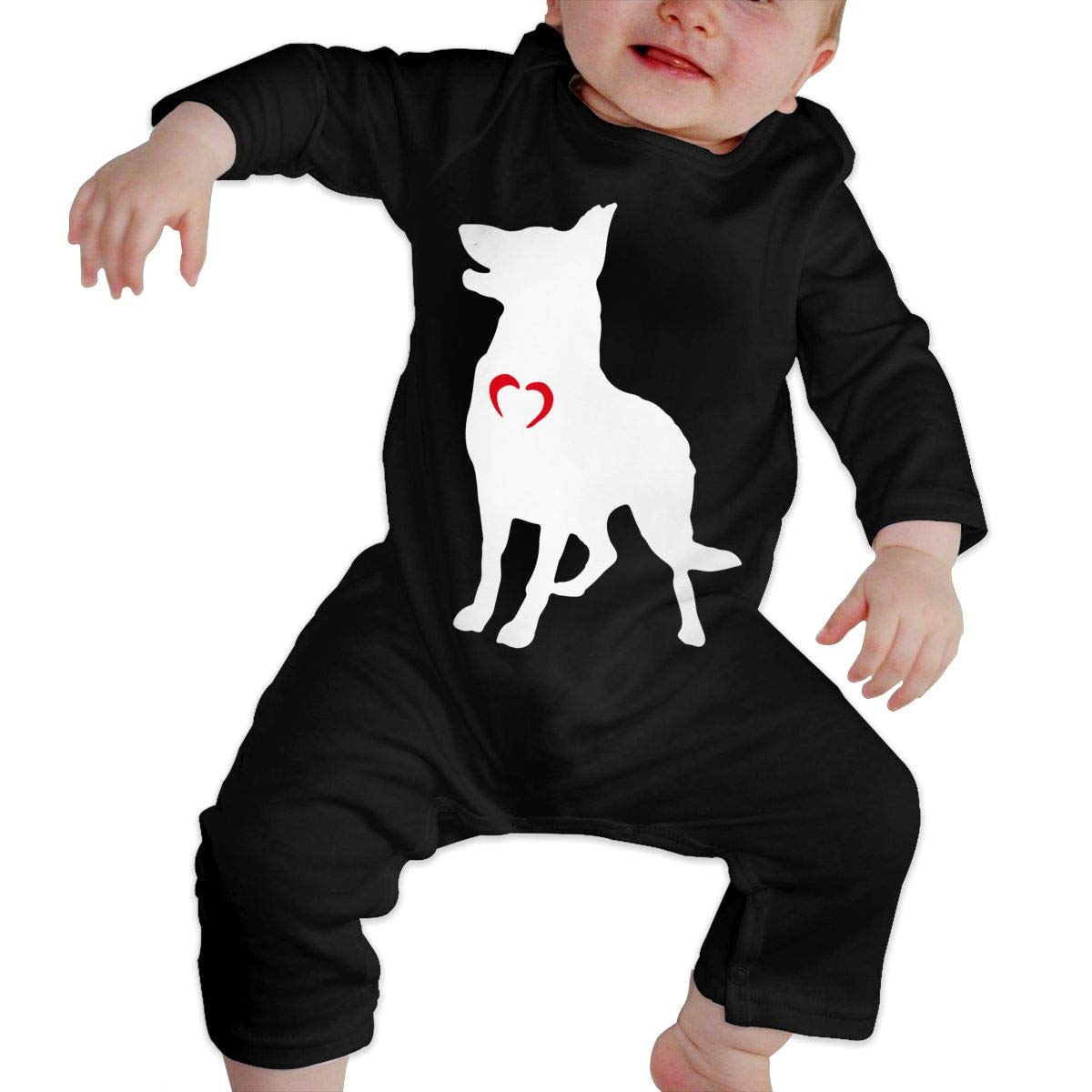 A1BY-5US Infant Baby Girls Cotton Long Sleeve German Shepherd with Heart-1 Romper Bodysuit One-Piece Romper Clothes