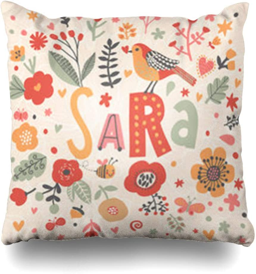 Throw Pillow Cover Square Heart Bright Nombre Sara Bird Poppy Nature Impresionante Flor Flores con Cremallera Funda de Almohada Decoración para el hogar Funda de cojín 18 Pulgadas: Amazon.es: Hogar