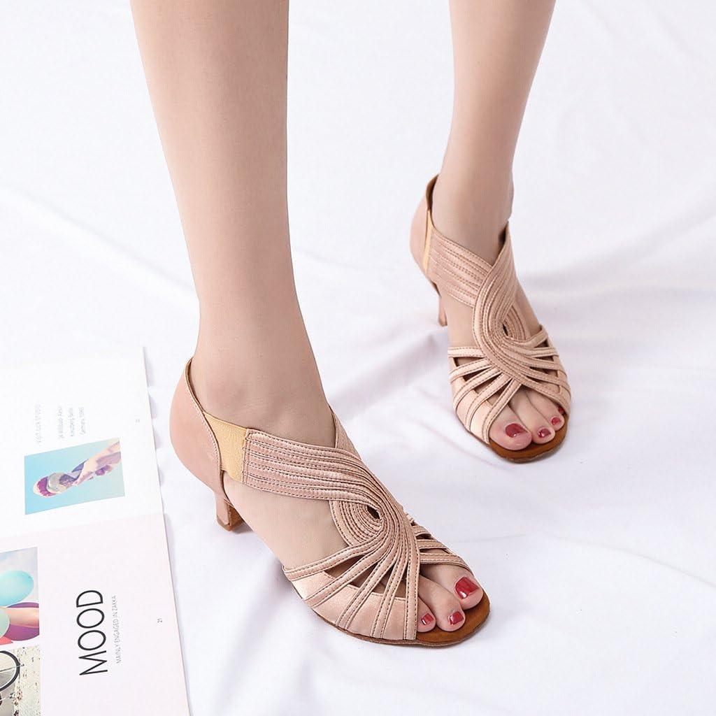 YYTing Chaussures de Danse de Salon Femme Latine Salsa Noir Beige 6cm Talon YT02