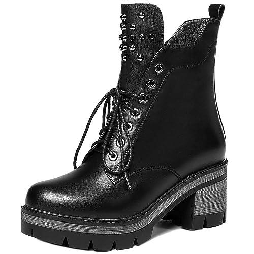 Botas para Mujer Tacón Grueso Cordones con Cremallera Martin Botines Biker Ejército Combate Militar Botas De Cuero Genuino Espesar Zapatos para Mujer: ...