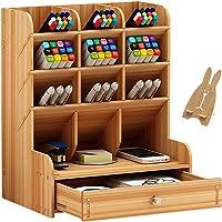 Office Desk Organizer, Multi-Functional DIY Pen Holder Box, Desktop Stationary, Easy Assembly,Home Office Supply Storage Rack with Drawer