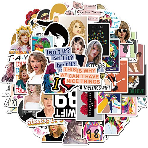 Singer Taylor Swift Stickers for Waterbottle and Laptop, Cool Vinyl Decal for Teen, Girl, Skateboard, Phone, Travel Case, Computer, Guitar