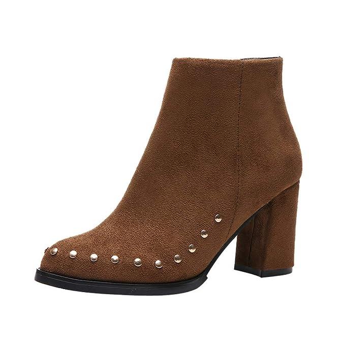 POLPqeD Zapatos Mujer Botines Tacon Ancho Negros Botines señora Botines Mujer Tacon Botines Comodos Invierno Botines Altos con Plataforma Botas Altas Tacon ...