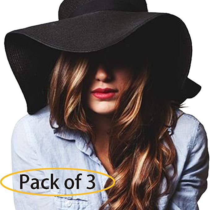 f2cba697c Women's Sun Hat Wide Brim Straw Hat Packable Roll Up UPF50+ Ladies Beach  Hat Chin Strap Pack of 3