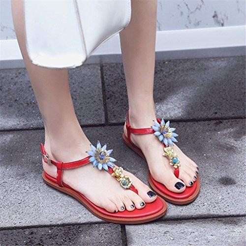 EU36 Tamaño de B las zapatillas de cómodo la de LIXIONG correa de CN36 con planas Sandalias zapatos UK4 dulces mujeres A moda manera Portátil Color Zapatos Sitio las la Flores wAq14Fn