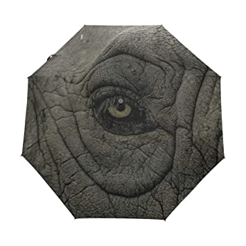 Bennigiry - Paraguas Plegable con 3 Pliegues de Elefante Africano, Cierre automático, tamaño de