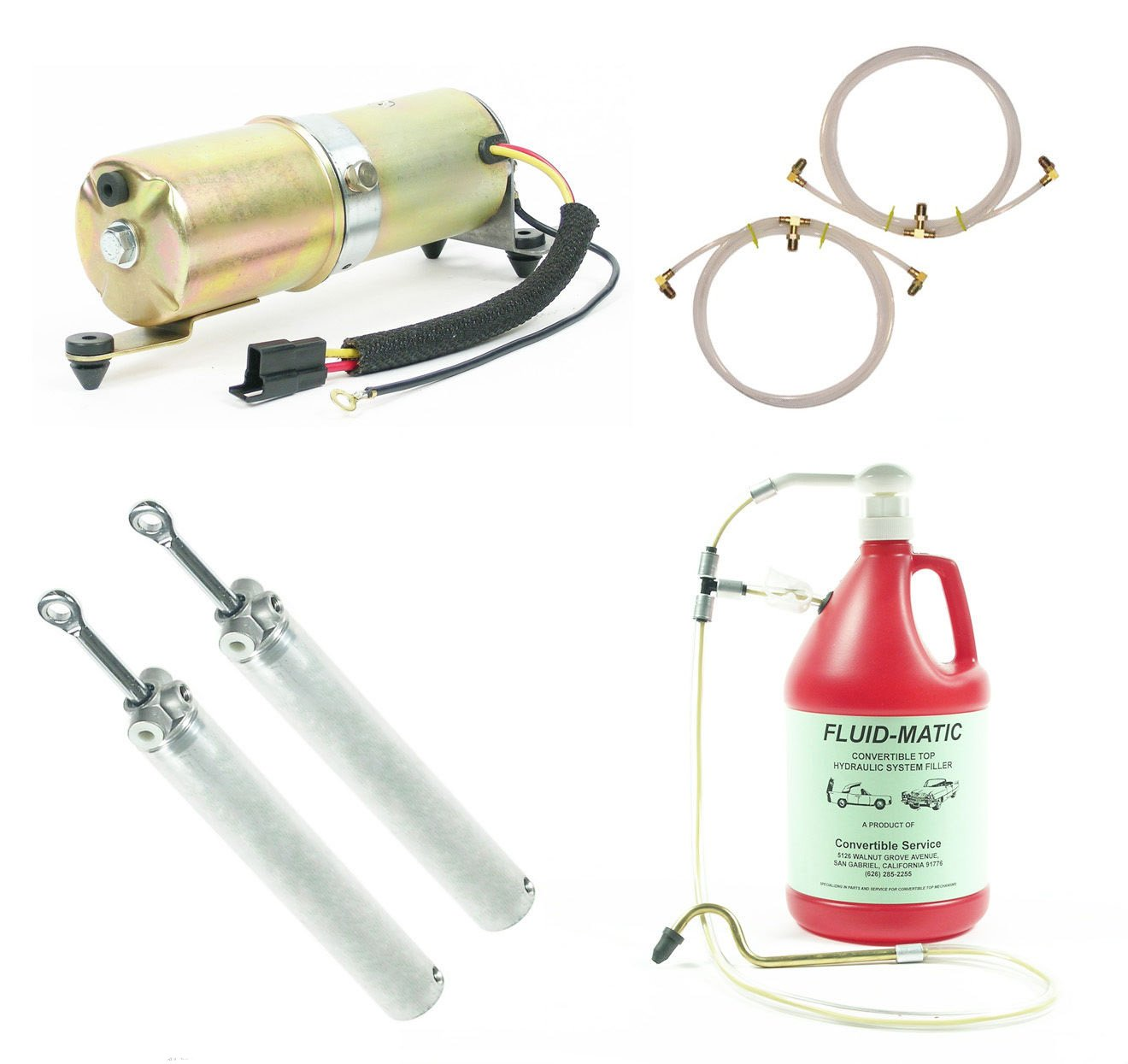 1967 1968 1969 Camaro / Firebird Convertible Top Hydraulic System Cylinders Hoses Motor + Bleed Tool