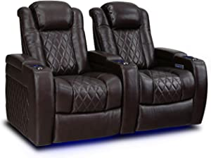 Valencia Tuscany Home Theater Seating   Top Grain Nappa Leather, Power Reclining, Power Lumbar Support, Power Headrest (Row of 2, Dark Chocolate)
