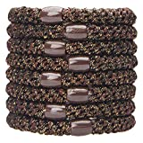 L. Erickson Grab & Go Ponytail Holders, Metallic Espresso, Set of Eight - Exceptionally Secure with Gentle Hold