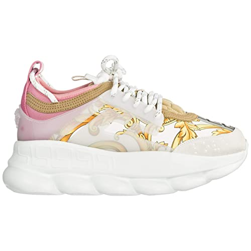 07a711a8591bc Versace Women Chain Reaction Sneakers Bianco + oro + Shell Pink 2 UK ...