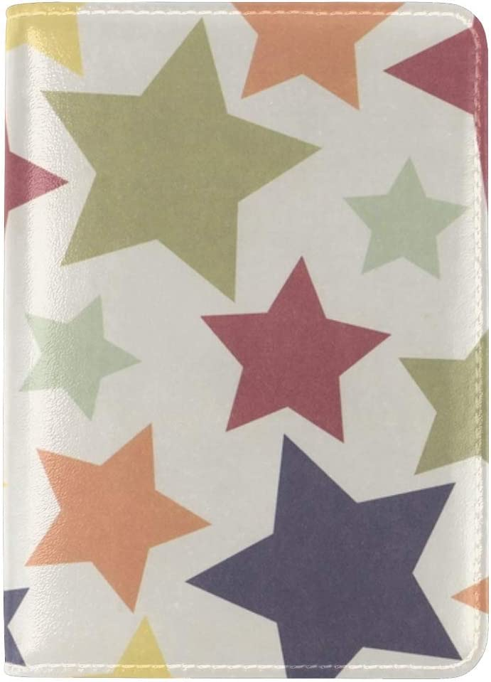 JiaoL Star Colorful Surface Leather Passport Holder Cover Case Travel One Pocket