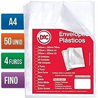 Blister 50 Envelopes A4 Fino 4 Furos, Dac, Blister 50 Envelopes A4 Fino 4 Furos 5070A4-50, Transparente, 5070A4-50