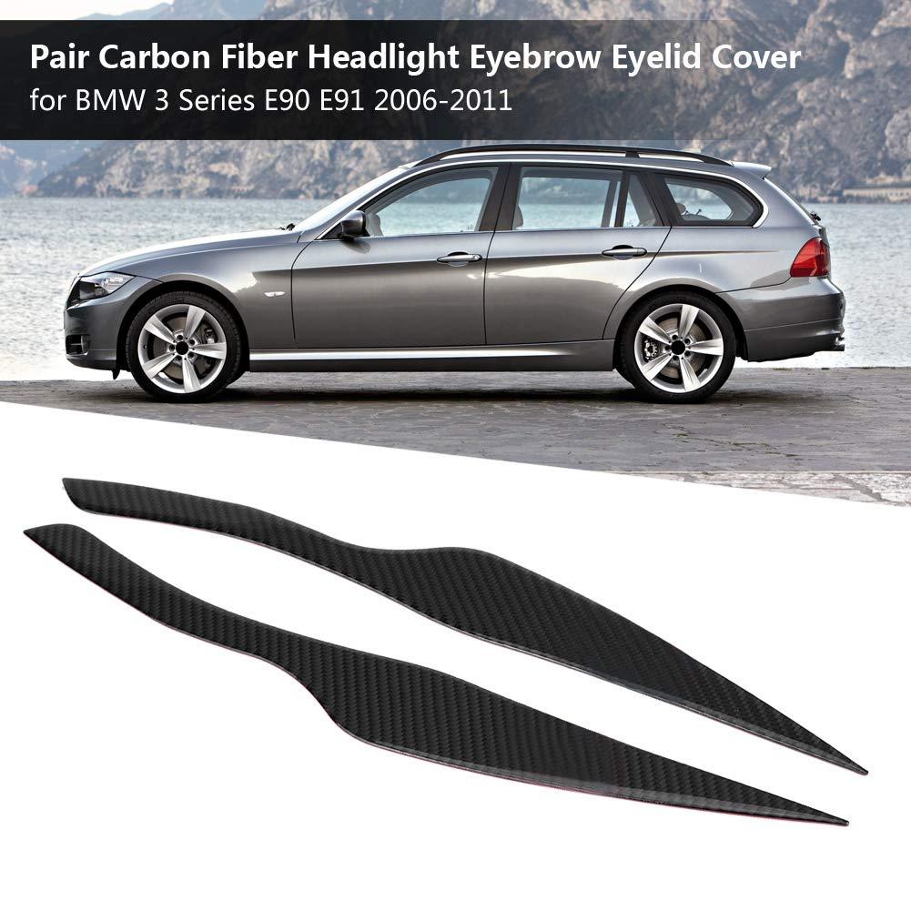 Cuque 1 Pair Headlight Eyebrow Trim Cover Carbon Fiber Headlight Eyelid Lid for 3 Series E90 E91 2006 2007 2008 2009 2010 2011 Solid Color