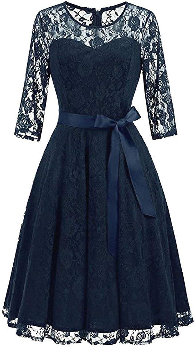 20 20 Arm Kleid Damen] Spitzenkleid Rockabilly Kleid Elegant