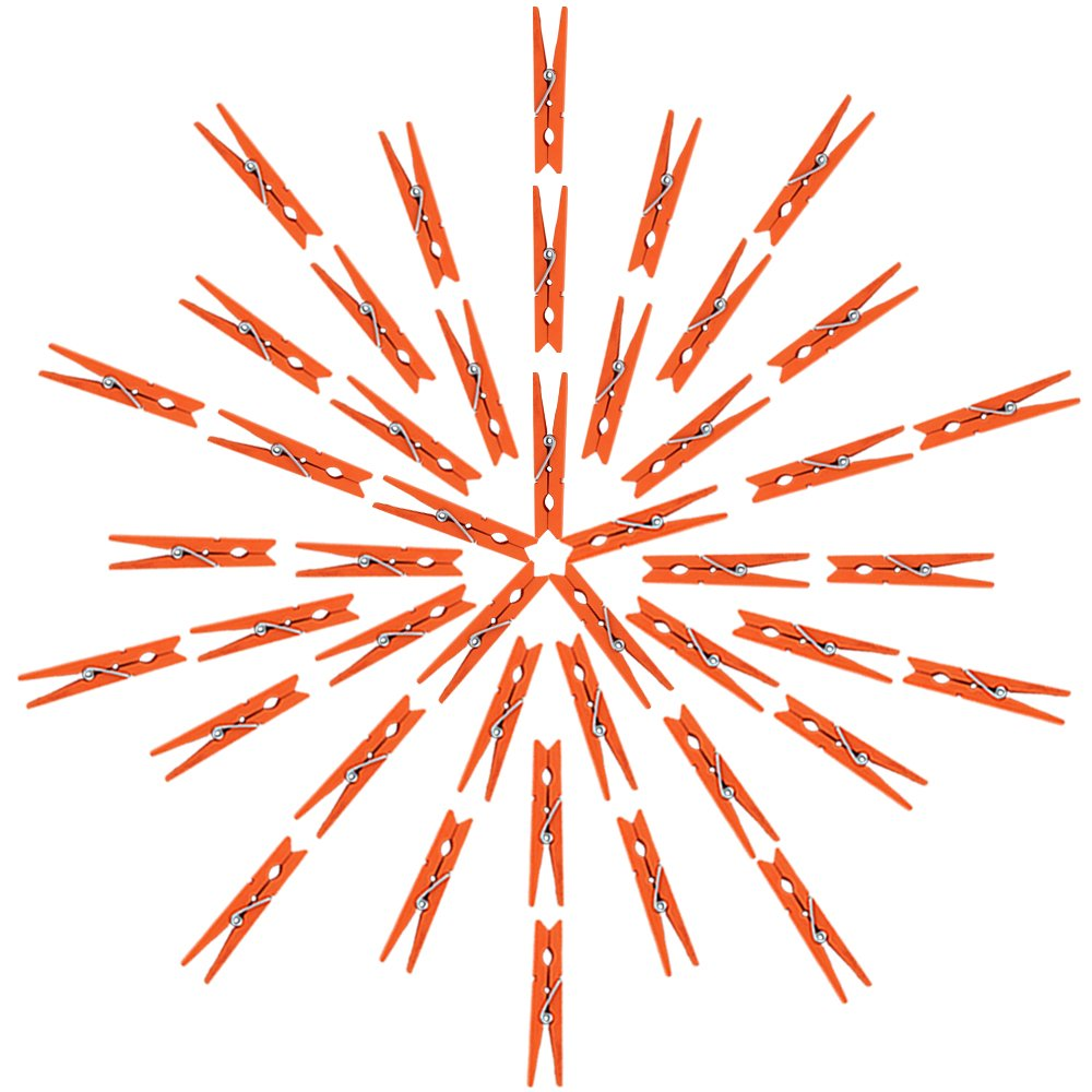 Just Artifacts 2.75-inch Craft Wood Clothespins/Peg Pins (100pc, Orange)