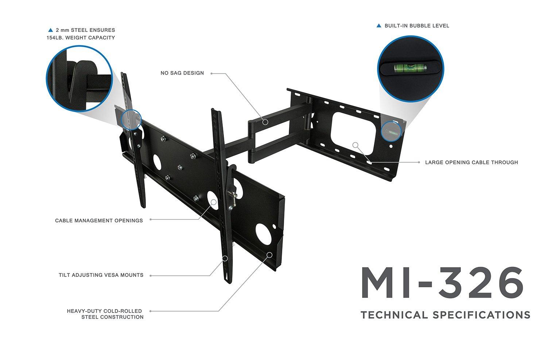 MI-326B Articulating TV Wall Mount Low-Profile Swivel Full Motion Tilting Corner Bracket for 32-60 Inch 4K LCD LED Flat Screen TV Mount-It 175 lb Weight Capacity VESA Standard up to 750x450mm