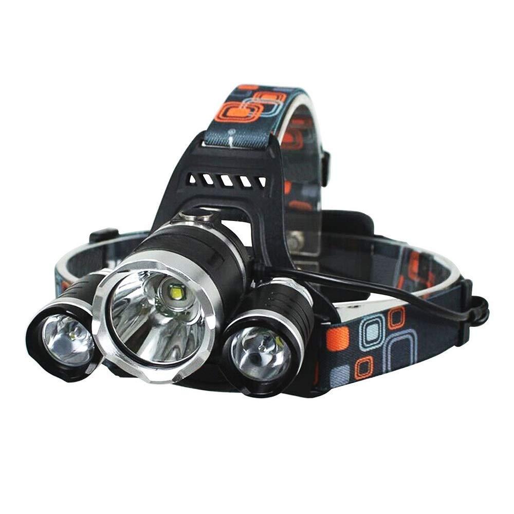 KLSHW Headlights - High Power 3T6 Glare Long-Range Charging Three Headlights 6000LM Fishing Fashion Led Flashlights