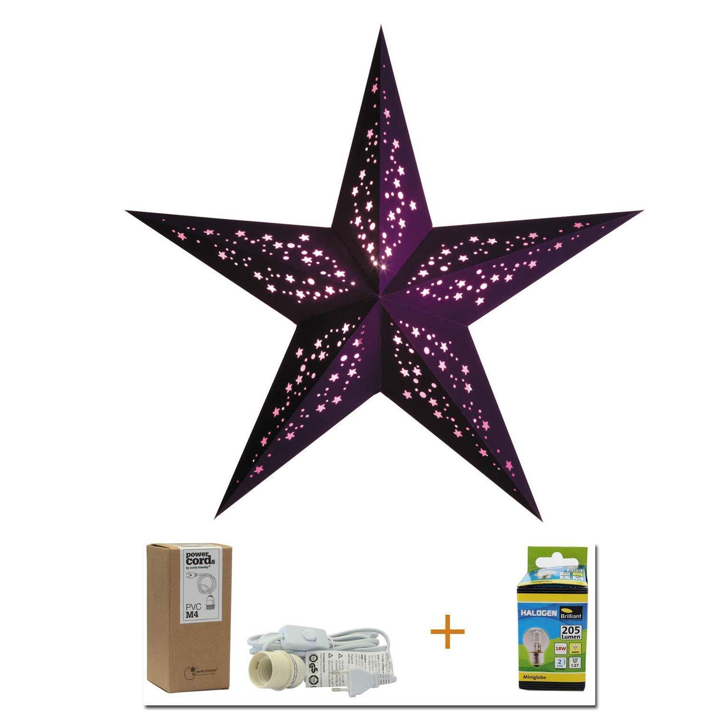 Papierstern Mia violet | Weihnachtsdeko | Weihnachtsstern lila | Leuchtstern | Adventsstern 5 Zacken | starlightz | Weihnachten Leuchtdeko