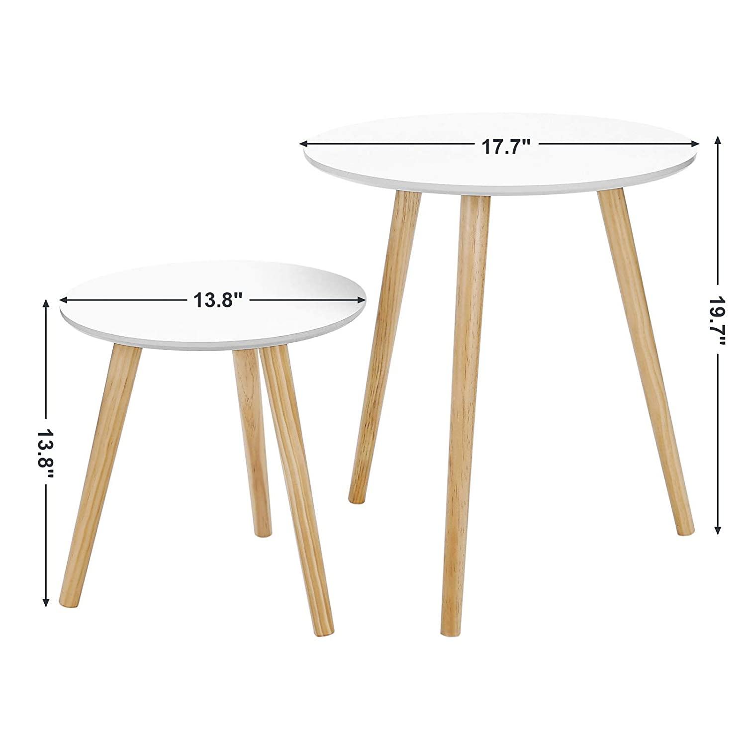 Songmics nesting tables round coffee end tables night stand modern minimalist multi purpose daffodil series accent furniture for living room bedroom kids
