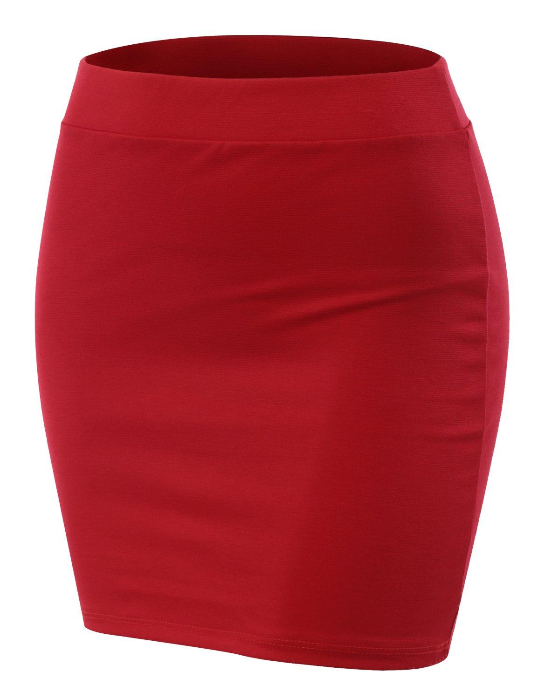 CLOVERY Women's Must-Buy Basic Bodycon Pencil Short Mini Skirt RED L