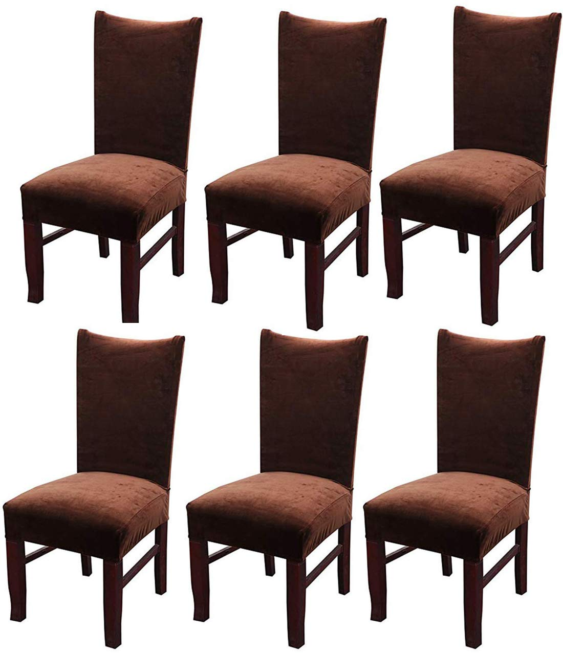 Wine Red MOCAA Velvet Stretch Dining Room Chair Covers Thick Soft Removable Dining Chair Slipcovers Set of 6 M008