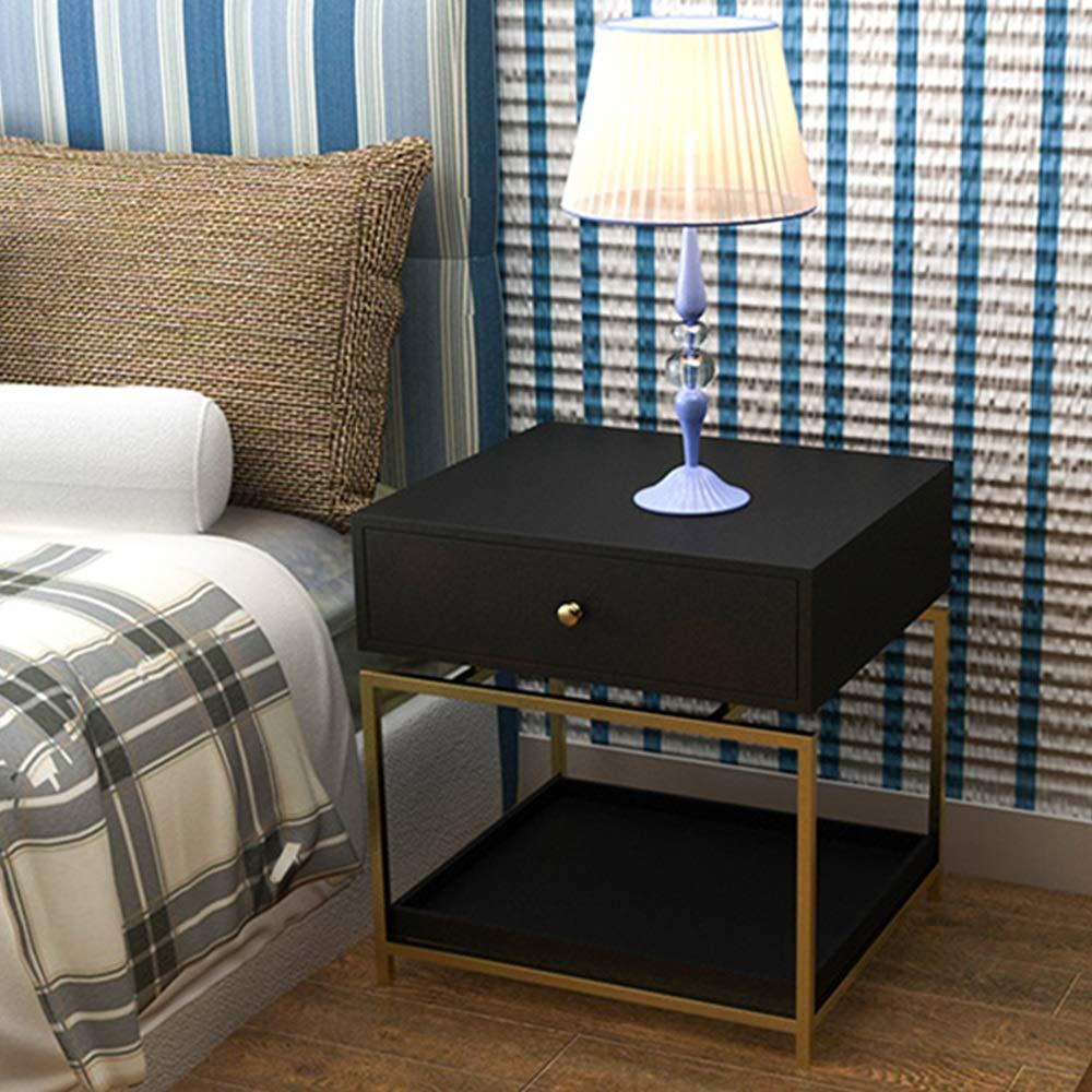 FeiGuoQiang Nachttisch - Nordische schmiedeeiserne Schublade Schlafzimmer-Nachttisch, moderner Wohnzimmerschrank, Multifunktionsschrank, wirtschaftliche Möbel, Größe: 50x40x55cm Ablagetisch