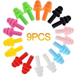 Youyouchard 9 Pairs Ear Plugs Noise Cancelling Reusable Silicone Earplugs for Sleeping,Swimming,Learning,Hearing Protection,Concerts,Airplanes,Shooting,etc