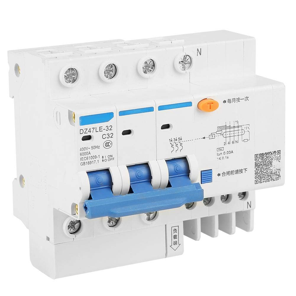 N C32 RCCB Disjoncteur Diff/érentiel de Courant Disjoncteur Courant R/ésiduel Produits de Protection de Circuit 30mA 230V DZ47LE-32 1P