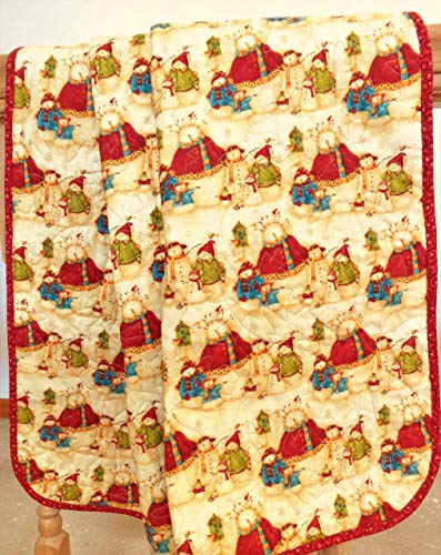 Snowman Christmas Quilted Crib Blanket 41
