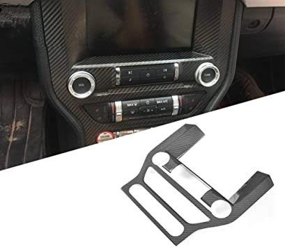 Carbon Fiber Grain Car Dashboard GPS Navigation Panel Decoration Frame Trim Cover for Ford Mustang 2015 2016 2017