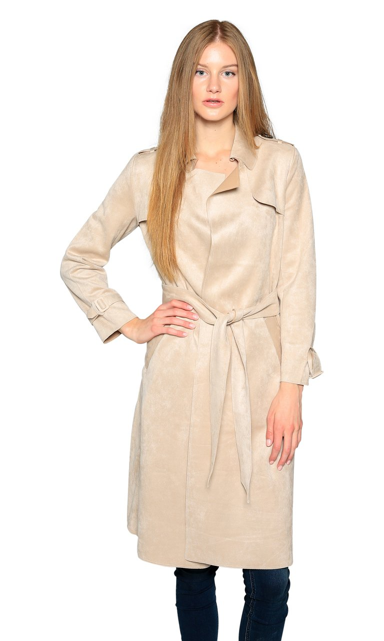 Love Token Adrianna Faux Suede Trench Coat, Blush, M